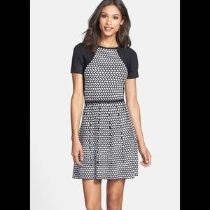 Trina Turk Jacquard Fit & Flare Sweater Dress